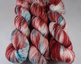 Hand Dyed Sock Yarn, hand dyed wool, variegated sock yarn, nylon sock yarn, christmas, red, green, candy cane