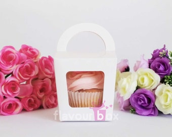 20x White Single Cupcake Boxes with handle - Party Favour - Wedding Bomboniere