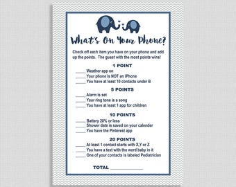 What's On Your Phone Baby Shower Game, Navy Grey Elephant Search Cell Shower Game, Elephant Shower Game, INSTANT PRINTABLE