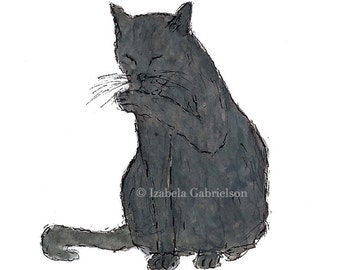 GREETING CATS / Greeting Cards / Blank / Note Card/ Watercolor / Gray / Russian Blue