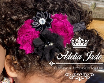 Raspberry/Black Baby Headband, Baby Headband, Flowery Baby Headband, Shabby Flower Headband, Newborn Baby Girl Headband, Birthday Headband