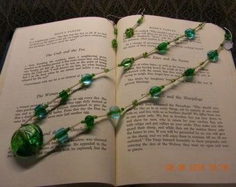 A Touch of Blue & Green Glass Bead Necklace and Earring Set