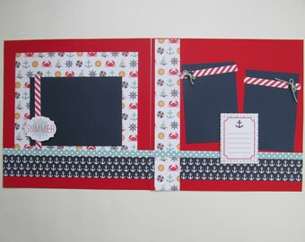 Anchor's Away Premade or DIY Kit,12x12 Scrapbook Layout,Scrapbook Page Kit,