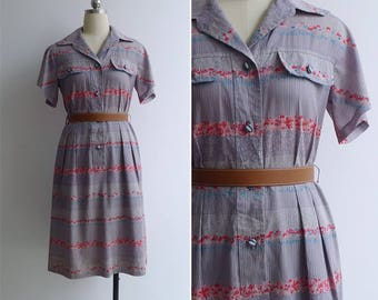 Vintage 80's 'Flower Garlands' Grey Cotton Bell Sleeve Shirt Dress S or M
