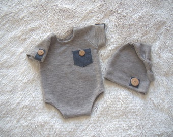 NEW-Short Sleeves Gray Romper and Sleepers hat with Jean Details-Photography Prop Sets-Newborn Photography Props-Baby Boy Clothing Sets