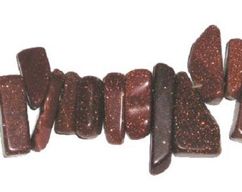 Brown Goldstone Large Chips Beads