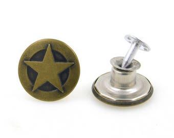 bronze x 2 Stud jean metal star button