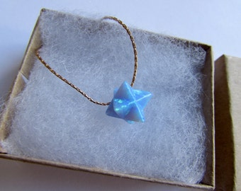 Merkaba Opal Necklace Dainty Gold Filled / 925 Silver Necklace Handmade Free UK delivery + Gift Box + Gift Bag