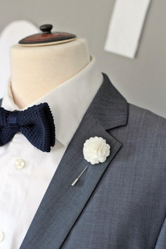 Elegant white carnation boutonniere mens lapel flower pin mightylinksfo