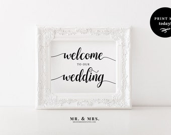 Wedding Welcome Printable. Wedding Welcome Sign. Please Sign.