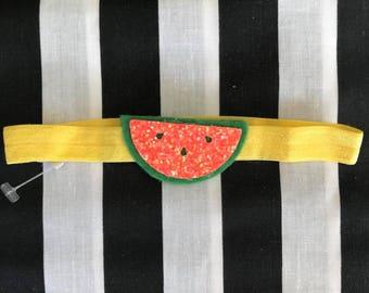 Baby headband, watermelon headband, tropical headband, summer headband, yellow headband