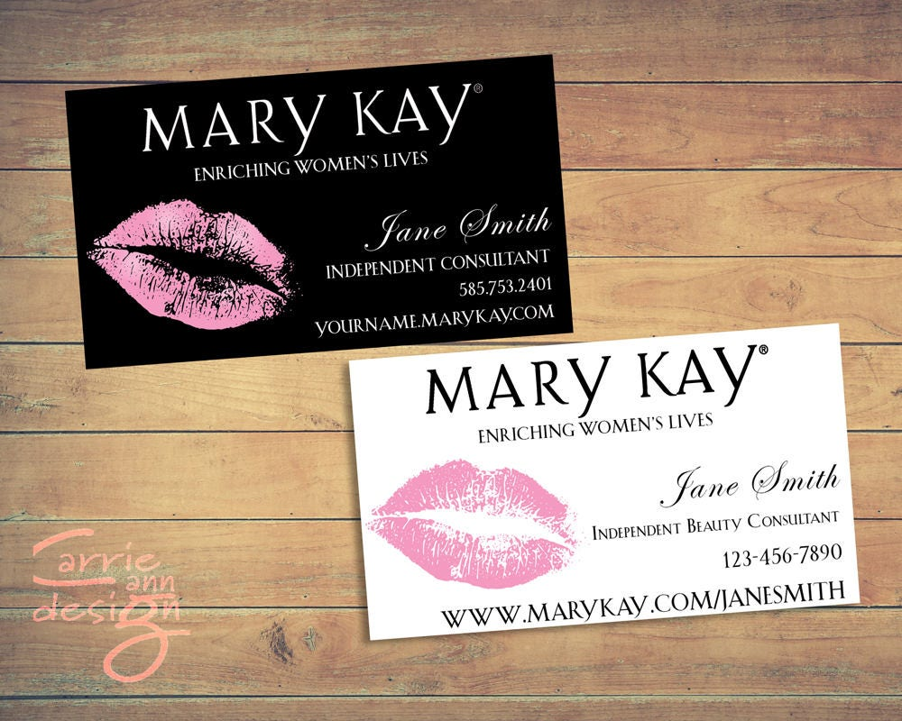Mary Kay Business Cards printable lips pink custom