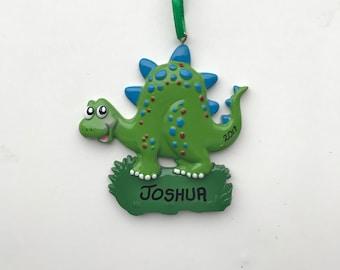 Dinosaur Personalized Christmas Ornaments / Green Dinosaur Ornament / Christmas Gifts for Kids