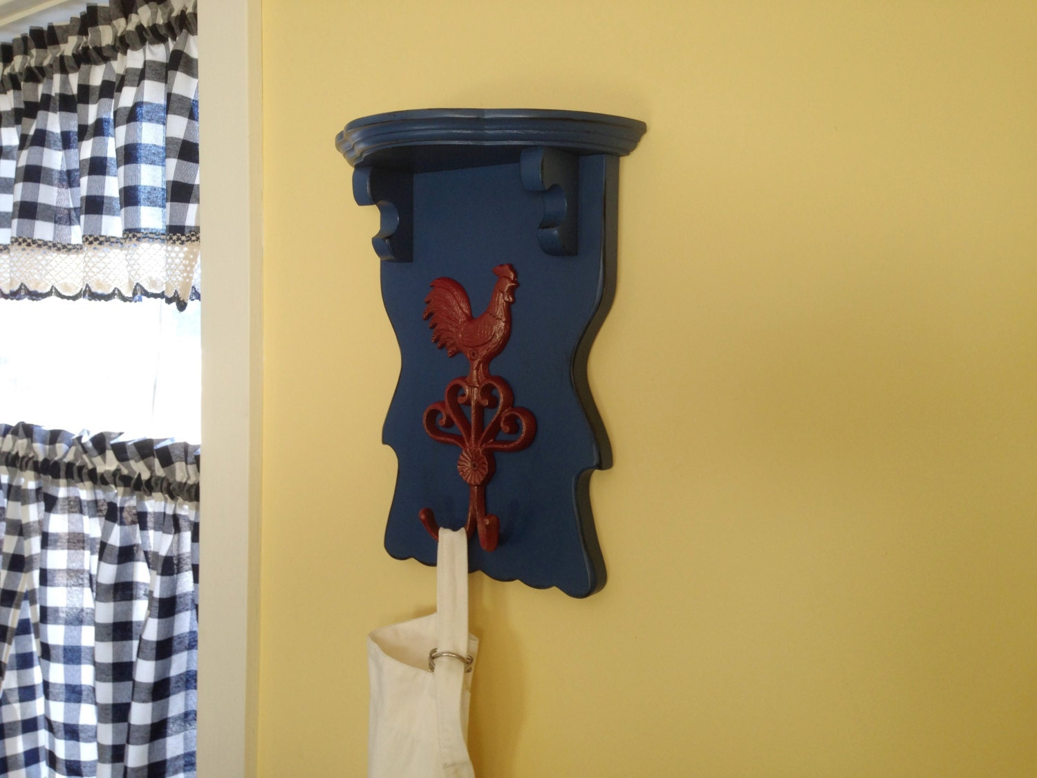 Kitchen Rack with Hooks French Blue Wooden Shelf Rack