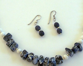 Blue and White Fossil Necklace and Earrings Set by Carol Wilson of Je t'adorn