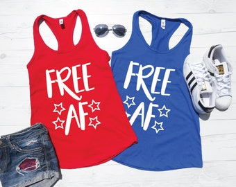 Free AF 4th of July Tank Top - America Tanks - USA Shirts - Freedom Tank Tops - Independence Day Tops - Red and Blue 4th of July Shirts
