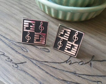 Vintage Swank Silver Tone Musical Note Cufflinks 3/4 inch Square