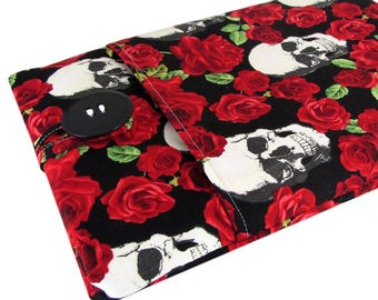 Kindle Fire 7 Case - Kindle Fire HD 8 Case - Kindle Fire HD 10 Case - Cool Skull And Roses Fabric