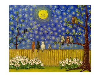 "Moon Watching Cats FREE SHIPPING Mefiuml Original oil painting folk art stretched canvas 20"" X 24""  No.05-04 ready to hang"