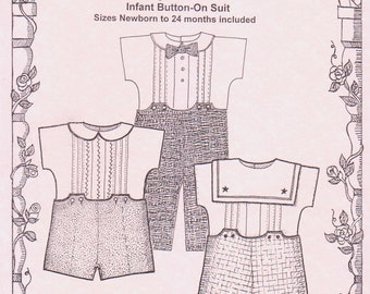 Boys Button-on Suit / 2 collar variations / Pleated Front / Bow tie / Snap Crotch / Lined Pants / Button Back Shirt / Primrose Lane / 8