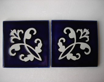 Handmade Ceramic Tiles with fleur de lis Design,  Discounted Ceramic Tiles