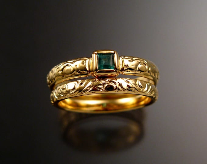 Emerald square  Wedding set 14k Yellow Gold Victorian bezel set ring made to order in your size