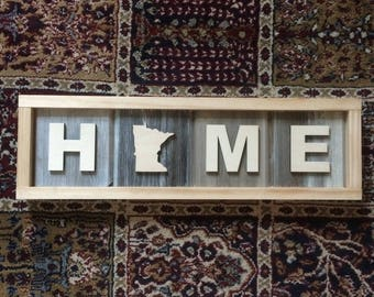 Wood Minnesota Home Sign