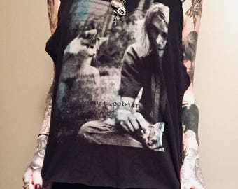 Reworked Worn Cut Back KURT COBAIN Tank