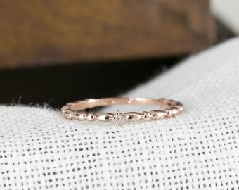 Rose gold wedding band, rose gold wedding ring, single diamond band, single diamond ring, yellow gold unique ring, white gold simple wedding