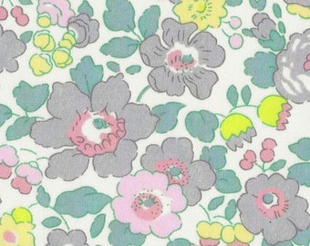 Gray and pink pastel color Liberty Betsy lemonade pattern Liberty print fabric