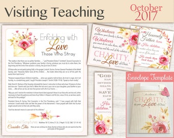 October 2017 Visiting Teaching Message, Relief Society Printable, Instant Download, Message VT LDS handouts, tags, envelope template
