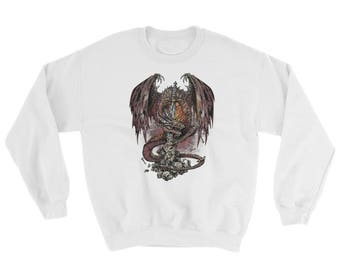 Necromancer Skeleton Skull Head Pile With An Ancient Sword And A Blood Thirsting Dragon Wrapped Around It Biker Tattoo Sweatshirt