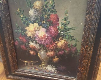 Vintage Floral Framed Artwork