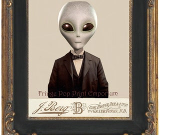 Victorian Alien Art Print 8 x 10 - Altered Art Alien Man - Extraterrestrial - Science Fiction - Collage - Pop Surreal - Conspiracy Theory
