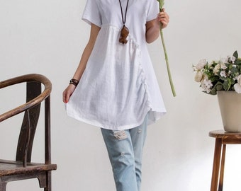 Sale-Loose Fitting Linen and cotton Shirt Blouse for Women  - Short sleeved - Women Clothing (R)
