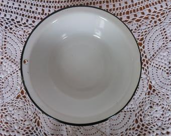 White and Black Enamelware Bowl