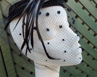 Vintage Ladies 1950's Black Velvet Halo Hat with full spotted Veil finished with a long tailed Black Feathered BIRD AMAZING ! !