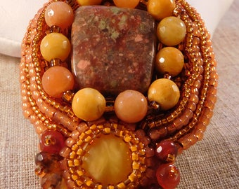 Natural Stone Pendant Bead Embroidered Handmade USA Seed Beads Pretty New