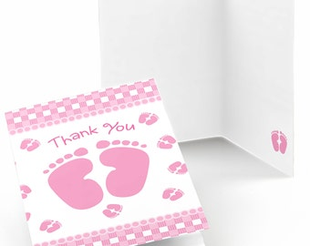 Baby Feet Pink Thank You Cards - Baby Shower Thank You Cards - Pink Baby Feet Thank You's - Baby Thank You - Set of 8 Folding Note Cards