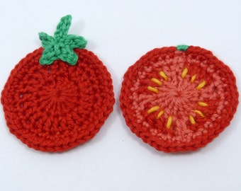Crochet applique, 2 red crochet tomatoes. Cardmaking, scrapbooking, appliques, handmade, sew on patches embellishments