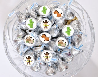 108 Cowboy Candy Stickers, Cowboy Party, Cowboy Stickers, Cowboy Decorations, Candy Stickers for Hershey® Kisses, Western Party