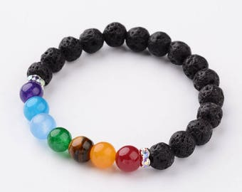 Natural Lava Stone Chakra Diffuser Bracelet - Natural Agate Rhinestone Bead Spacers