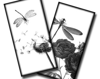 Dragonflies in Nature - 1x2 inches - (2) Digital collage sheets