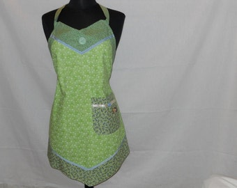SALE - WOMEN'S APRON - Cheerful Green All-over Flower Print with Contrast Trim