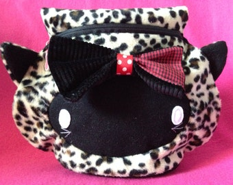 Kawaii Goth Cat Cosmetic Toiletry Bag, Kitty Cosmetic Bag, Cat Make-up Bag, Leopard Purse, Cute Cat Pouch, Goth Cat Bag, Kawaii Kitty Purse