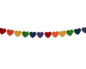 Rainbow Heart glitter garland, Valentine's Day heart banner, Valentine's Day decoration, hearts photo prop, Valentine Heart Bunting
