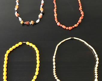 4 handmade Stone necklaces