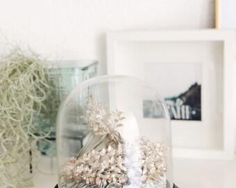 Tiara Corsage in original glass dome, silver bridal crown, Boutonniere, Glass dome, antique jewelry, art deco wedding