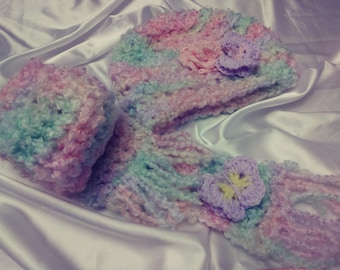 Multi color Crochet Hat and Scarf, Crochet baby Girl handmade,with flower and 3D butterfly   Free Shipping