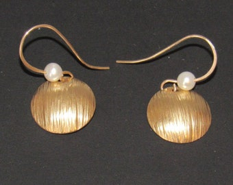 Hammered and Domed Earrings, 14k GF, Pearls and Nugold Brass